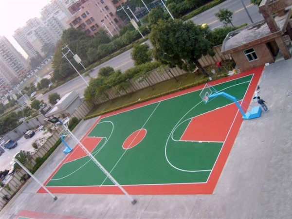 广东江门某学校弹性丙烯酸球场案例